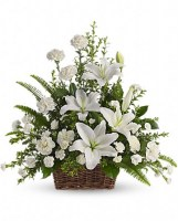 Peaceful White Lilies Basket Funeral Basket