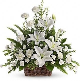 Peaceful White Lilies Basket Funeral