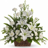 Peaceful White Lilies Basket Sympathy