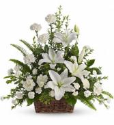 Peaceful White Lilies Basket Sympathy Arrangement