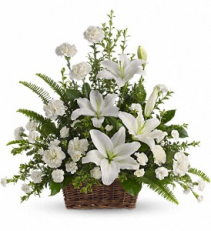 Peaceful White Lilies Basket Sympathy Arrangement