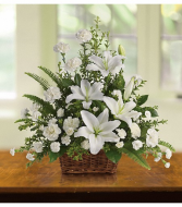 TF Peaceful White Lilies Basket Sympathy Arrangement
