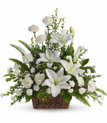 Peaceful White Lilies Basket T228-1A