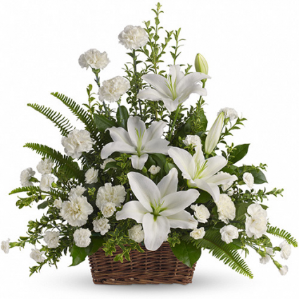 Peaceful White Lilies Basket - T228-1A