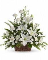 Peaceful White Lilies Funeral Basket