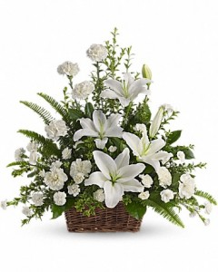 Peaceful White Lilies Funeral Basket in Storrs, CT | THE FLOWER POT