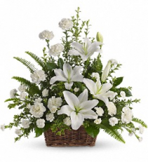 Peaceful White Lilies Funeral Tribute