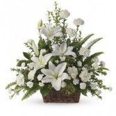 Peaceful White Lillies Funeral Baket