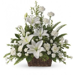 Peaceful White Lillies Funeral Baket in Baytown, TX | Black Orchid Florist LLC