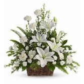 Peaceful White Lily Basket Funeral Flowers
