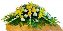Peaceful Yellow and White Casket Spray
