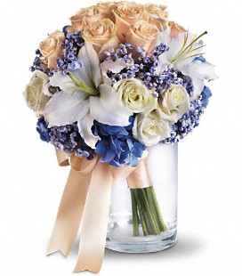 Peach and Blue handtied bouquet