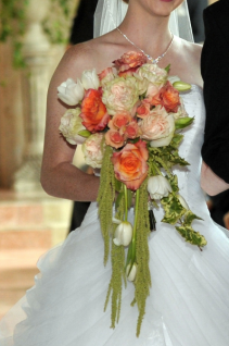 Peach and coral cascading bouquet Bridal arrangement