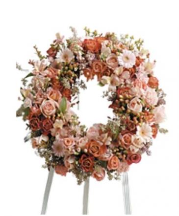 Peach and cream Wreath Wreath Funeral