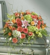 Peach and Green Garden Spray Casket Spray