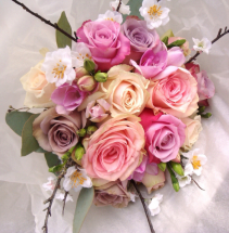 PEACH AND LAVENDER WEDDING BOUQUET