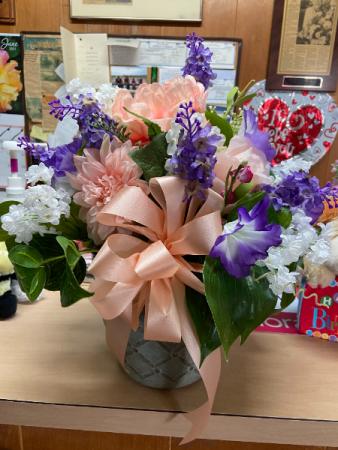 peach and purple silks  silk arrangement