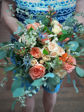 Peach and Sage  Bouquet