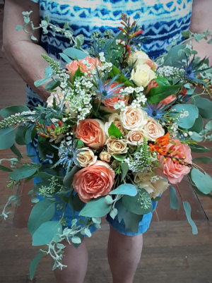 Peach and Sage  Bouquet in Nassawadox, VA | Florist By The Sea