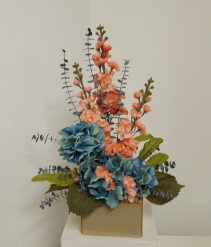 Peach and Teal Silk flower arrangement