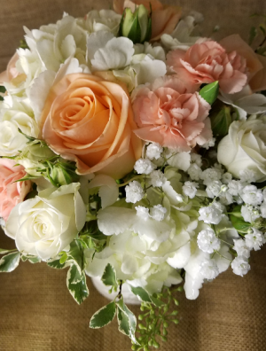 Peach and White Bridal bouquet in Caldwell, ID | Bayberries Flowers & Gifts