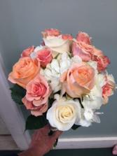 Peach and White Bridal Bouquet