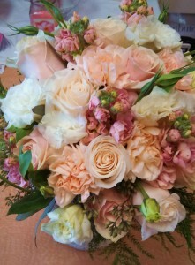 Peach and White Bridal Bouquet Hand-tied Bridal Bouquet
