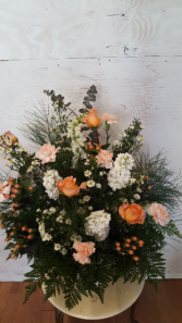 peach and white funeral  basket sympathy basket