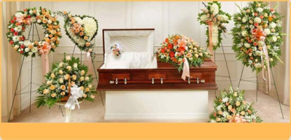 PEACH AND WHITE FUNERAL PACKAGES 3PC OR7 PC WREATH, HEART,CROSS, STANDING SPRAY, PEDESTAL PCS