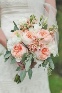 PEACH AND WHITE GARDEN ROSES HAND TIED BOUQUET