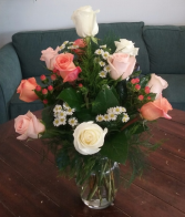 Peach and White Roses Arrangement