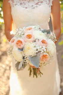 peach and white wedding bouquet wedding