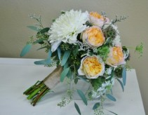 PEACH AND WHITE  Wedding Bridal Bouquet