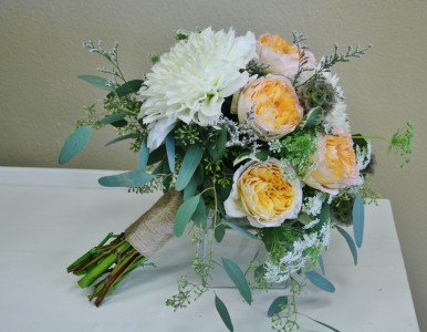 PEACH AND WHITE  Wedding Bridal Bouquet