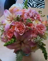 Peach Bridal Bouquet  Hand-tied Bridal Bouquet