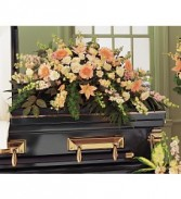 Peach Comfort Half Casket Spray  Funeral Arrangement