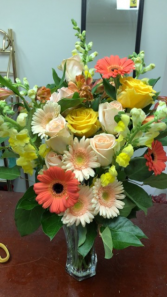 Peach Embrace Fresh Flower Vase Arrangement