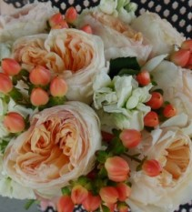 PEACH GARDEN ROSES, WHITE STOCK, PEACH HYPERICUM WEDDING BOUQUET