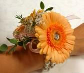 Peach Gerb Corsage Wrist Corsage