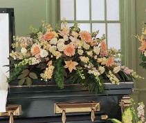 Peach Half Casket Spray