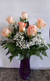 Any color Half Dozen Roses Vase Arrangement