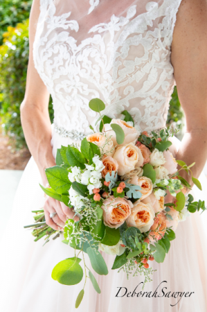 Peach juliette garden rose bouquet  wedding