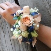 #5 Peach Navy Corsage  Prom Corsage