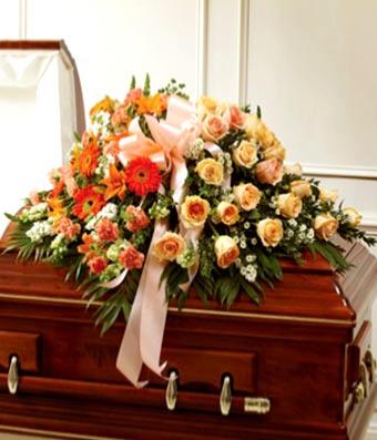 Peach, Orange & White Mixed Casket Cover