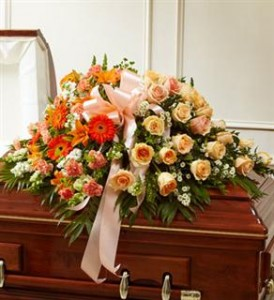 Peach, Orange & White Mixed Half Casket Cover Funeral in Crestview, FL | The Flower Basket Florist