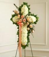 Peach, Orange & White Standing Cross With Peach Ro