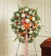 Peach, Orange & White Sympathy Standing Spray Funeral