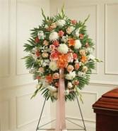 Peach, Orange & White Sympathy Standing Spray Funeral