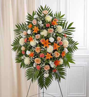 Peach, Orange & White Sympathy Standing Spray Standing Sprays & Wreaths