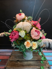 Peach & Pink Feather Forever Flowers Arrangement  Silk table arrangement in ceramic pitcher